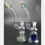 De Waterpijp van het glas van Transparante Blauwe Boom vertakt zich het Patroon van het Wapen van de Filter