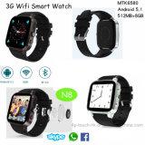 3G het androïde Slimme Horloge van de Pols Bluetooth met Camera en Multilanguages N8