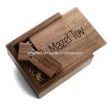 Rectángulo de regalo de madera del recuerdo de la nuez sólida de encargo de la insignia con insignia del laser