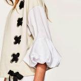 Moda mujer ocio suelta costura de color Puff manga vendaje blusa