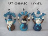 Santa Snowman & Moose Holding Sparkle Greeting Sign Decoration, 3 Asst