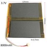 batteria ricaricabile 37132125 di Li-Po del litio del polimero del Combine di 3.7V 8000mAh per il PC 3.7*132*125mm del ridurre in pani del rilievo DVD