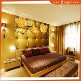 Картина маслом комнаты 3D водоустойчивой золотистой предпосылки TV роскоши живущий