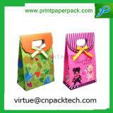 Bolsa de papel Wedding modificada para requisitos particulares encantadora del regalo del caramelo con la maneta y el arqueamiento del palillo