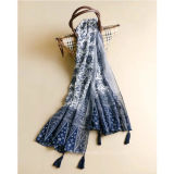 Écharpe de femmes estampée par polyester avec la porcelaine bleue et blanche (H08)