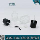 習慣12mlは黒い帽子のブラシが付いているガラスマニキュアのびんを空ける