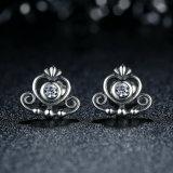 925 серег стержня кроны Princess Jewellery Ясн Zircon Сердца стерлингового серебра