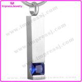 Fascino commemorativo del Locket del Keepsake della colonna Ijd8094 dell'acciaio inossidabile di cremazione dell'intarsio di cristallo Pendant popolare della collana
