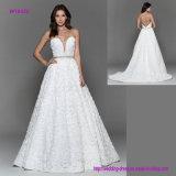 Флористическое платье венчания сети иллюзиона с низким уровнем зачерпнуло назад
