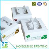 Levar embora caixas de bolo branco com indicador do PVC