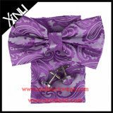 Conjunto al por mayor tejido seda de las conexiones de pun¢o del 100% y de la pajarita