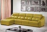 Sofá de la esquina de cuero de Geniune de los muebles de lujo de la sala de estar (HX-SN010)
