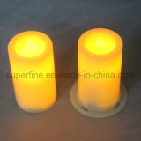 Electric SPA decorativo Amber Soft Amber Flickering Fleless Pillar LED Votive Candle Ornament