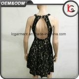 중국 제조 유럽식 까만 레이스 복장 패턴 우아한 여자 레이스 복장