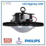 フィリップスLEDチップおよびMeanwell LEDドライバーが付いている高い湾ライト5年の保証50W UFO LED