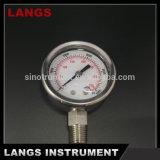 o aço inoxidável de 036 50mm frisou o calibre de pressão enchido líquido da moldura
