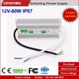 Fonte de alimentação impermeável IP67 do interruptor do diodo emissor de luz da tensão constante 12V 80W