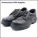 Zapatos de seguridad de acero barato cuero partido del dedo del pie suela de goma