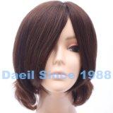 Mono breve parrucca ondulata superiore legata mano completa di capelli Braided umani per le donne
