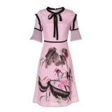 Платье карандаша женщин китайских чернил флористическое напечатанное Silk