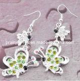 Rhinestone mariposa de aleación de color verde de la moda la moda de pendientes Joyería de pendientes Joyería Cristal Joyas de aleación de vidrio (PE-016)
