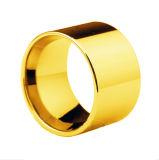 14mm Tungsten Men Ring, Plating 14k Gold Men Ring Gold Wedding Ring