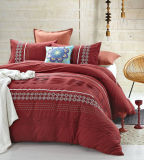 Red Geometry Shape Embroidery and Pleat Bedding Sets