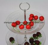 Un buffet delle 3 file impostato - cerimonia nuziale della lastra di vetro sotto il piatto