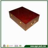 Первоклассный кожаный деревянный ящик для хранения с помощью рукоятки