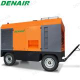 Motor diesel de 185 cfm tornillo Compresores transportables para la construcción de carreteras