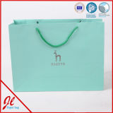 Bolsa de papel con el bolso verde y ambiental del bolso de compras de la maneta