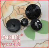 Fiore Shape Solid Black Nylon Button con Shank