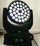 36*18W Rgbwauv LED Zoom moviendo la cabeza de la luz de la etapa de lavado