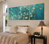 Дома картины Ван Гогю картины стены надувательства 3 частей изображение искусствоа стены горячего самомоднейшего декоративное покрашенное на доме холстины печатает Mc-196