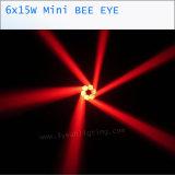 6X15W 소형 꿀벌 눈 LED 이동하는 맨 위 빛