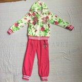 Trajes esportivos Frene / francês Terry Gilr em roupas para crianças (zip + hoodies + calça) Sq-6212