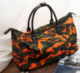 Saco grande portátil da mala de viagem do curso da capacidade do projeto simples, saco de mão de nylon do trole da bagagem camuflar durável para o desengate