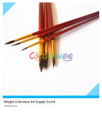 6PCS Wooden Handle Animal Fiber Hair Artist Brush para Painting y Drawing (color rojo)