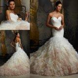 인어 끈이 없는 Organza 인어 신부 드레스 결혼 예복 (5101)
