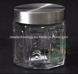 Vaso di vetro dell'alimento impresso nuovo stile con il coperchio del metallo