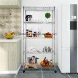 Estantes caseros de poca potencia del almacenaje de la esquina de metal del cromo de la cocina de los estantes de los fines generales 5
