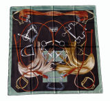Sciarpa della signora Fashion Printed Square Silk (DX0908)