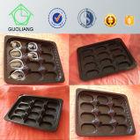 поднос плиты устрицы 31.5X26cm прямоугольный черный устранимый PP пластичный для свежий, котор замерли упаковывать устрицы