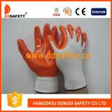 Gants enduits Dnn334 de sûreté de nitriles en nylon oranges