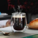 L'acqua cade tazza doppia di vetro di Borosilicate del caffè della tazza della tazza di vetro del latte l'alta