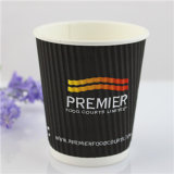 taza de café de papel negra disponible 12oz Withlid