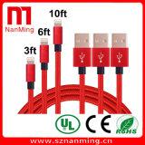Mâle d'USB au câble de synchro de remplissage/caractéristiques de mâle de la foudre USB--Rouge