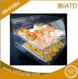 Cas d'exposition acrylique clair de boulangerie de rangée du best-seller 4 de prix bas hermétique