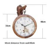 Reloj de pared de madera, Redondo Reloj, doble cara, el movimiento de barrido, reloj de madera de roble