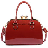 새로운 형식 Burgundy 특허 Satchel 부대 금속 프레임 여자 핸드백
